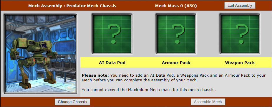 3 Module boxes to click in to add AI Data Pod, Armour Pack and Weapon Pack