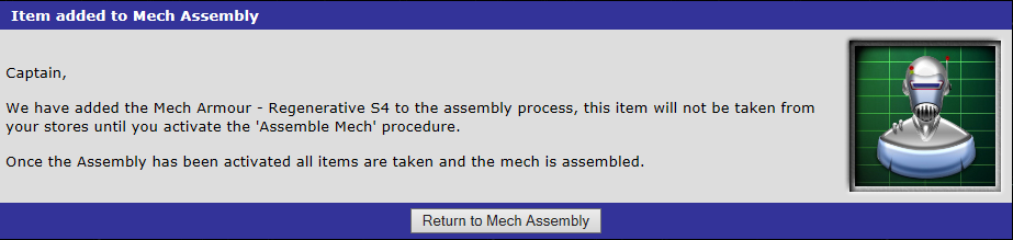 Mech Armour - Regenerative S4 added to the assembly process