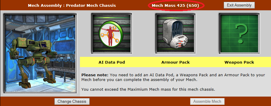 Mech Assembly screen