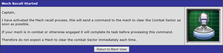 Mech Recall Started message