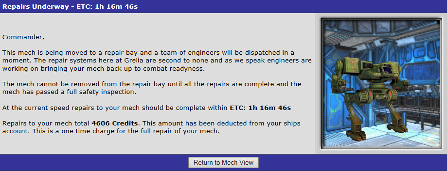 Repairs Underway – ETC 1h 16m 46s