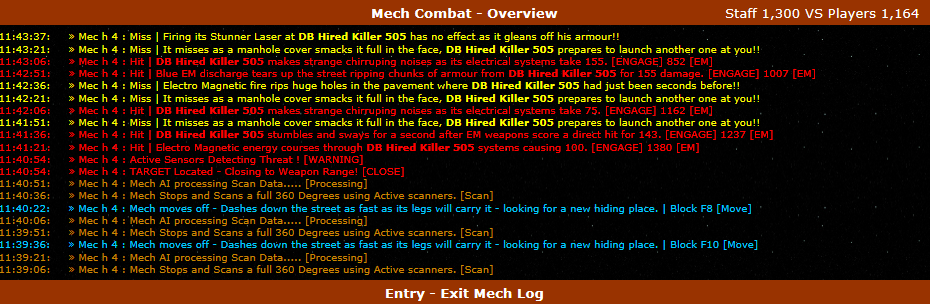 Combat logs beneath the main list and grid