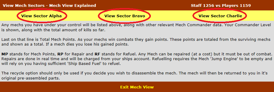 View Sectors section in Mech View